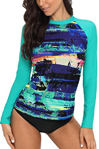 CharmLeaks Womens rash guard swim shirts rashguard swim shirt rash guard swim Large,Green