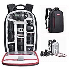 Roomy Backpack with Removable Foam Padded Inserts 🎄 The Backpack for SLR Cameras and Accessories has room for your favorite photography gears. 🎄 Main compartment with its customizable cells that will accommodate your unique group of ac...