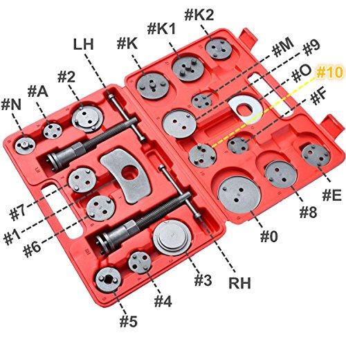 DASBET 22pcs Universal Disc Brake Caliper Piston Compressor Wind Back Repair Tool Kit for Cars by DASBET (Image #2)