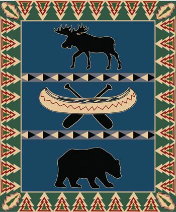 Moose Bear Canoe Fleece Blanket Throw, Polyester, 50x60-inch, Blue Green Beige Red - Bear Canoe