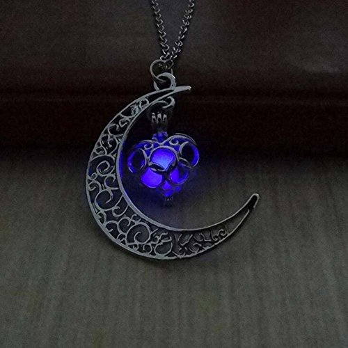 Tomtosh 2017 New Hot Moon Glowing Necklace, Gem Charm Jewelry,Silver Plated,Halloween Gifts (Halloween Accessories Hk)