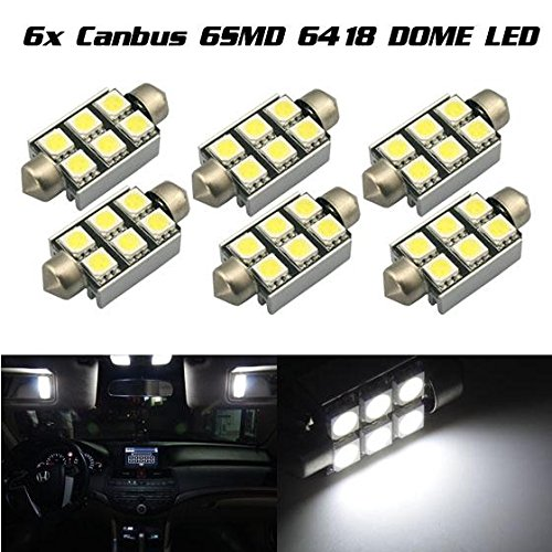 Partsam 6x LED Error Free Car Bulb 36MM Festoon 6SMD Dome Map Interior Light Lamp White for 1996-2002 Audi A6 Quattro etc.