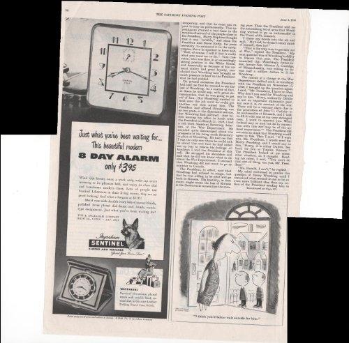 Ingraham Sentinal Clock Watch German Shepherd 1948 Vintage Antique Advertisement