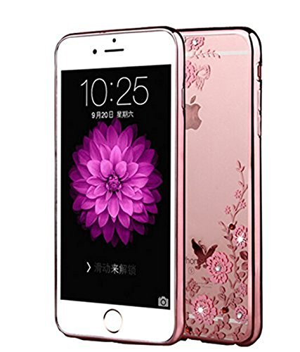 Lozeguyc iPhone 7 Plus Case,[Secret Garden] Rose Gold and Pink PC Plating Clear Shiny Cover Series for Apple iPhone 7 Plus 5.5 Inch-Swarovski