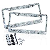 Zone Tech Shiny Bling License Plate Frame - Crystal Rhinstones Bling Premium Quality Novelty/License Plate Frame with Mounting Screws