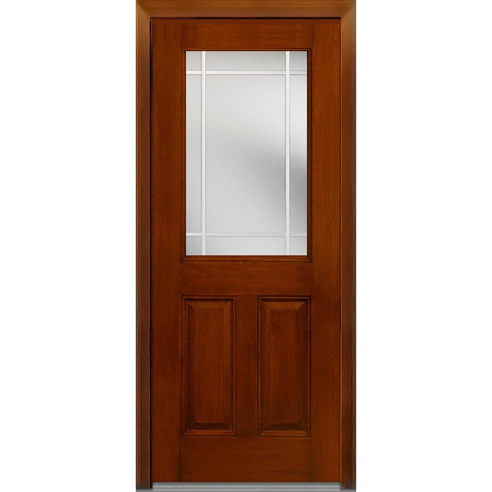 National Door Company Z007000L Fiberglass Mahogany, Warm Chestnut, Left Hand In-swing, Exterior Prehung Door, Internal Grilles 1/2 Lite 2-Panel, 36''x80''