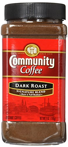 Community Coffee Signature Blend Dark Roast Premium Instant 7 Oz Jar (4 Pack), Full Body Rich Bold Taste, 100% Select Arabica Coffee Beans