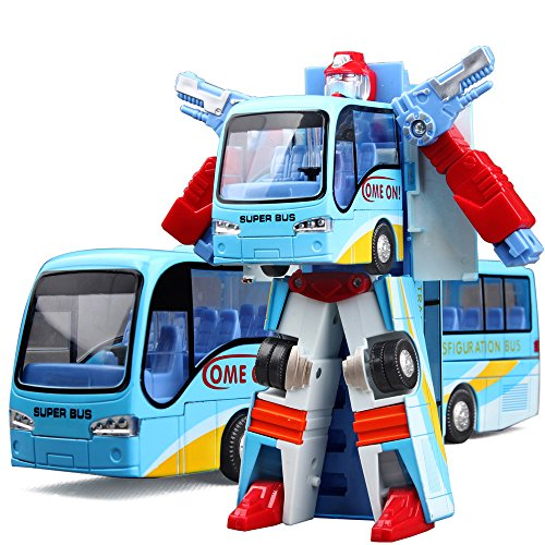 Cyeah Bus Transform into Robot Toy for Kids(Blue) (Transformer School Bus)