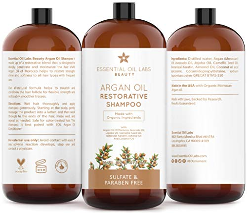 4b53cdf1449b Argan Oil Shampoo, 16 oz, Made With Organic Ingredients, Restorative for  all Hair Types, Color-Safe Shampoo, Sulfate & Paraben Free by Essential Oil  ...
