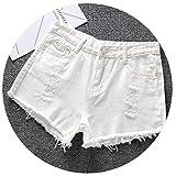S-6XL Plus Big Size Jeans Shorts Female Loose Wild Jean Shorts Denim Shorts Women,XXXX-Large,BrokenHoleWhite