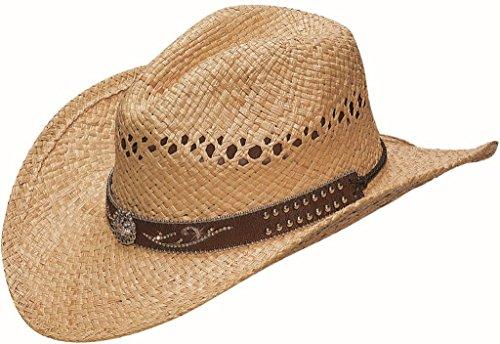Blazin Roxx Women's Scroll Studded Croc Print Hat Band Raffia Straw Cowgirl Natural (Sparkly Cowgirl Hats)