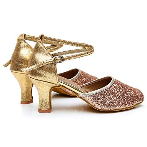 Azbro Mujer Moda Zapato de Baile Fiesta Latín Correa Cruzada Puntera Punta Rosa