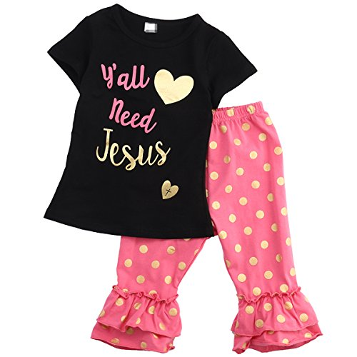 Flower Tiger Y'all Need Jesus Letter Printed T Shirt Dot Ruffle Cropped Pants 2Pcs Clothes Set For Little Girls (2-3 T, Black) Jesus Toddler Shirt