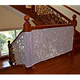 Hillento Children Safety Rail Balcony Stairs Net Banister Stair Safety Net for Kids/ Pet/ Toy Safety on Indoor/Outdoor Stairs, Balcony, or Patios, Stairs Protector, 9.8 x 2.5 ft, White
