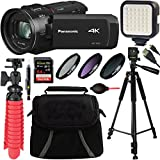 Panasonic HC-VX1K 4K Ultra HD 24x Optical Zoom Camcorder with 25mm Wide Leica Lens + 64GB SDXC Card & Accessory Bundle