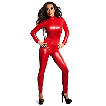 YX Women s Shiny Catsuit Unitard Faux Leather Jumpsuit Cosplay Ladies Girl  Fancy Dress Playsuit Sexy Party Clubwear  Amazon.co.uk  Sports   Outdoors b1822fc55