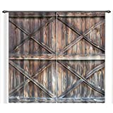 LB Vintage Wooden Farmhouse Door 3D Window Curtains for Living Room Bedroom,Rustic Barn Door American Country Style Room Darkening Blackout Curtains Drapes 2 Panels,28 by 65 inch Length