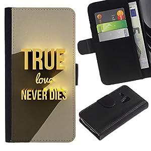"Samsung Galaxy S3 MINI / i8190 (Not For Galaxy S3) , la tarjeta de Crédito Slots PU Funda de cuero Monedero caso cubierta de piel ("" True Gold Love Dies Never 3D Text"")"