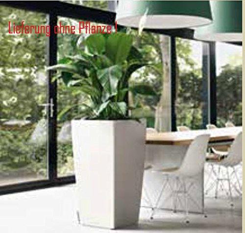 Blumenübertopf Cubico Premium, sonnen-und regenbeständig für Innen und Außen, inklusive Bewässerungssystem, Farbe Weiß, ca. 30x30x56cm