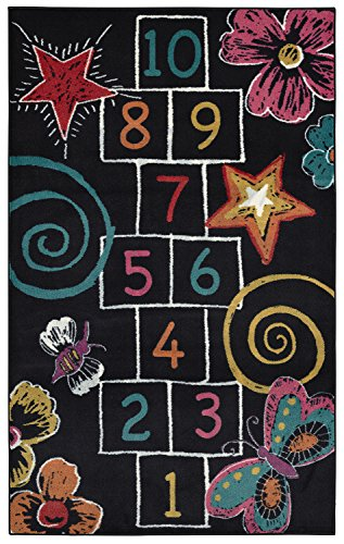 Mohawk Home  Aurora Hopscotch Chalk Colorful Printed Contemporary Kids Area Rug,5'x8',Black