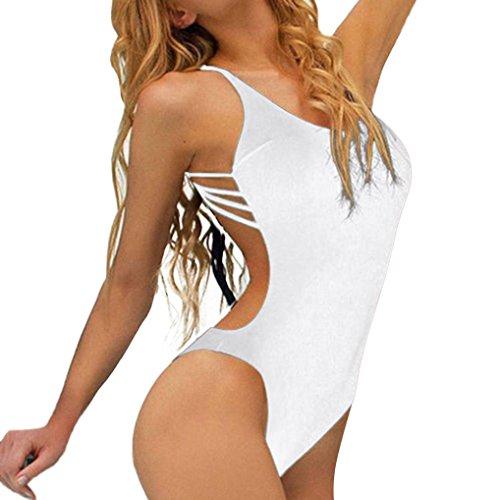 Amuster Femmes maillot de bain une pièce bandage bikini push-up rembourré maillot de bain dos nu