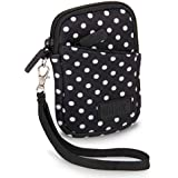 USA Gear Compact Camera Case Bag for Canon PowerShot SX720 HS, SX620 HS, ELPH 190 IS/170 IS, Nikon Coolpix S33, AW130 & More - Battery & Memory Storage, Scratch & Weather Resistant - Polka Dot