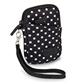 USA Gear Compact Camera Case Bag for Canon PowerShot SX720 HS, SX620 HS, ELPH 190 is / 170 is, Nikon Coolpix S33, AW130 & More - Battery & Memory Storage, Scratch & Weather Resistant - Polka Dot
