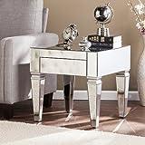End Table Mirrored/Matte Silver Trim/Warm Maroon Felt