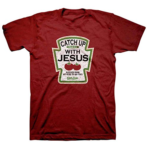 - Catch up with Jesus Funny Christian T-Shirt, XL, Red