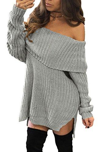 Nueva mujer gris de punto grueso jersey para el hombro Off vestido Casual Club invierno desgaste noche partido desgaste tamaño S UK 8–�?0EU 36–�?8