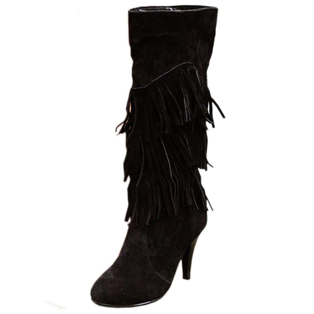 Zanpa Chaussures Femmes Hiver Chaussures Bottes Classique Franges Longue Longue Bottes Aiguille Black 7620373 - shopssong.space
