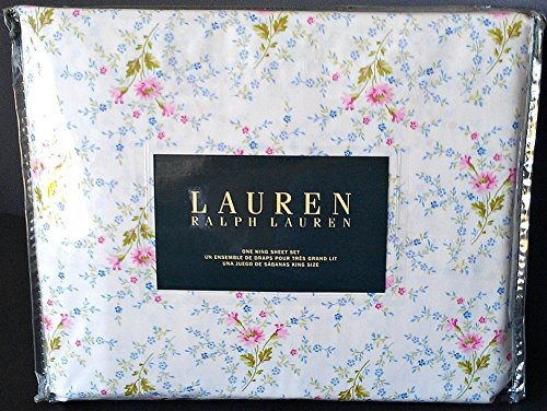 (Ralph Lauren 4 Pc KING Floral French Country Sheet Set Ivory Pink Blue Green)