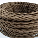 Brown Cotton Cloth Covered Twisted Electrical Wire Lamp Cord Antique Fan