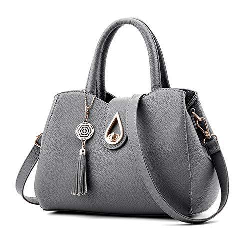 - Pahajim Women PU leather Tote Bags Small Satchel Purses Shoulder Tassel Handbags (grey)