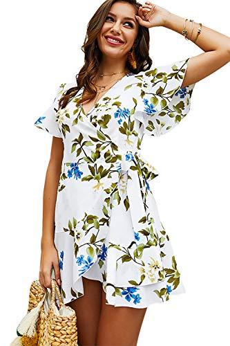 Shmily Girl Women's Dresses Summer Wrap V Neck Bohemian Floral Print Ruffle Swing A Line Beach Mini Dress (L, White Floral)]()