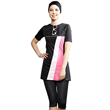0cb9ace311aaa Amazon.com: NEW Women unlined - Half Covered Switsuits sunscreen Muslim  Swimwear Islamic hijab Modest Swimsuit Beachwear Burkini: Clothing