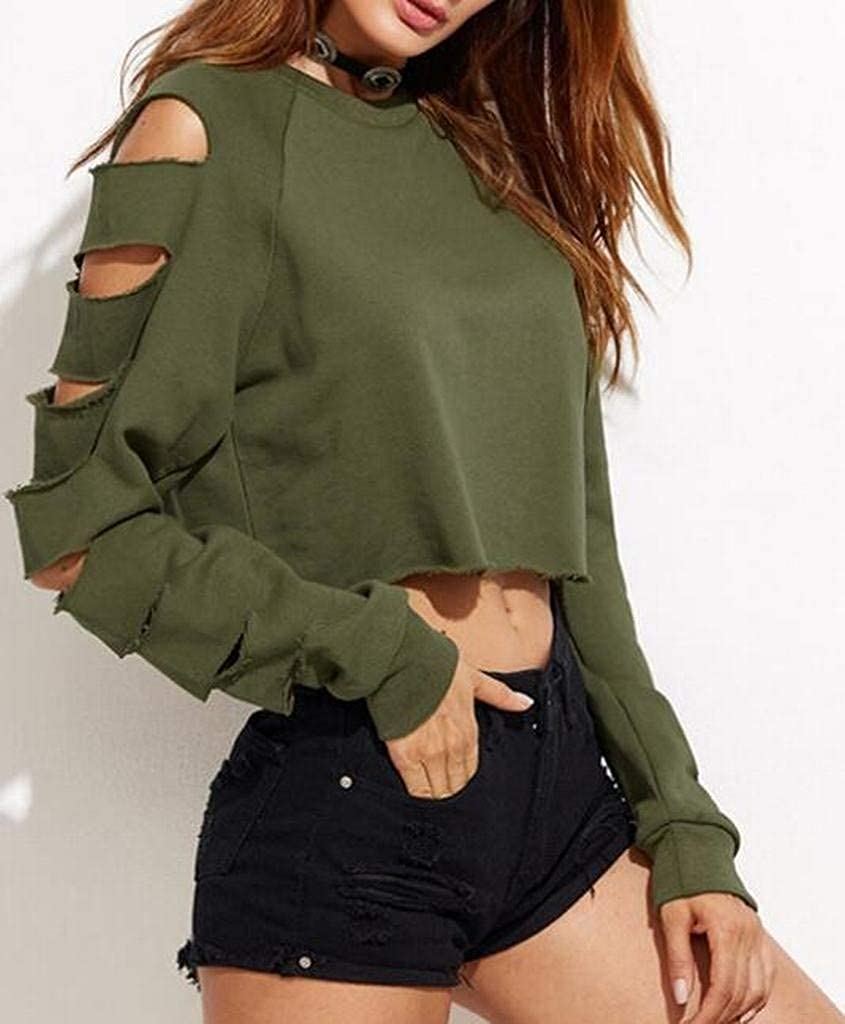Hadudu Women Crop Top Solid Color Long Sleeve Ripped Holes Pullover Sweatshirts