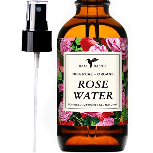 Rose Water Spray 100% Pure, Natural Toner by Baja Basics For Skin, Hair and Aromatherapy Large 4oz
