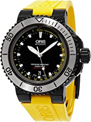 Oris Depth Gauge Aquis Dive Watch. Comes with yellow band and black band.