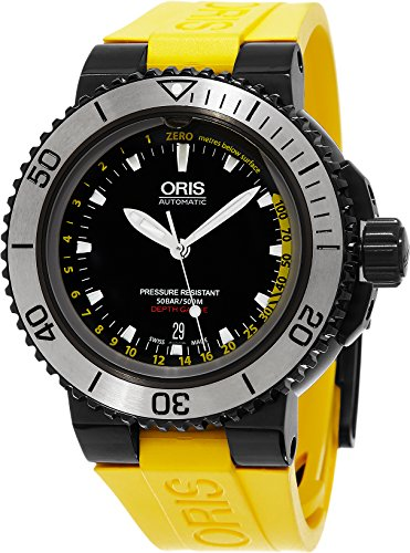 Oris Aquis Depth Gauge 733.7675.4754.SET 46mm Automatic Ion Plated Stainless Steel Case Yellow Rubber Anti-Reflective Sapphire Men's Watch