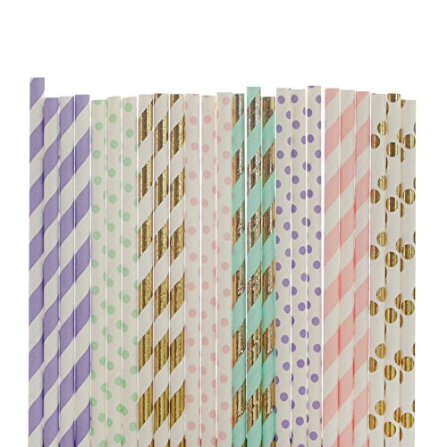 (Unicorn Paper Straw Mix (lavender stripe mint polka dot, gold foil stripe, small light pink polka dot, mint and gold foil stripe, small lavender polka dot, light pink stripe, fold goil polka dot))
