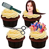 Hairdressing Edible Cupcake Toppers - Stand-up Wafer Cake Decorations by Made4You
