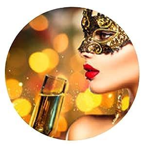 alfombrilla de ratón Mujer Sexy modelo con copa de champán que llevaba máscara - ronda - 20cm
