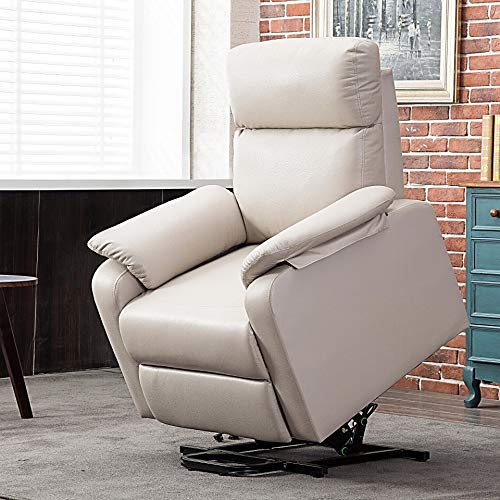 Harper&Bright Designs Leisure Power Lift Recliner Chair with Built-in Remote (Cream)