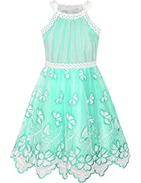 Girls Dress Turquoise Butterfly Embroidered Halter Dress Party