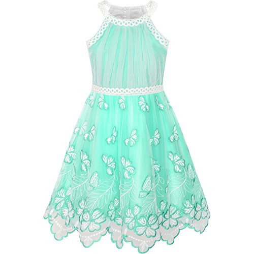 LK34 Girls Dress Turquoise Butterfly Embroidered Halter Dress Party Size 8]()
