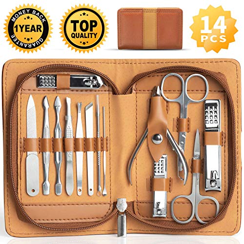 Manicure Set Pedicure Grooming Kit - Ejiubas 14 Pieces Stainless Steel Nail Scissors Cuticle Care Tools with Portable Travel Case