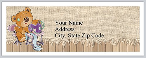 120 Personalized Return Address Labels Teddy Bear with Sewing machine (bx 169)