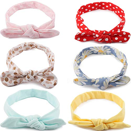 Baby Girls Headbands with Bows - 6 Pack Toddler Cotton Knot Headwrap Bunny Ears Hair Bands by mligril -