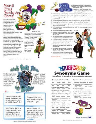 Printable Mardi Gras Games Pack [Download]